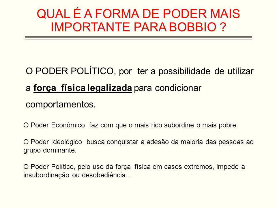 QUAL É A FORMA DE PODER MAIS IMPORTANTE PARA BOBBIO