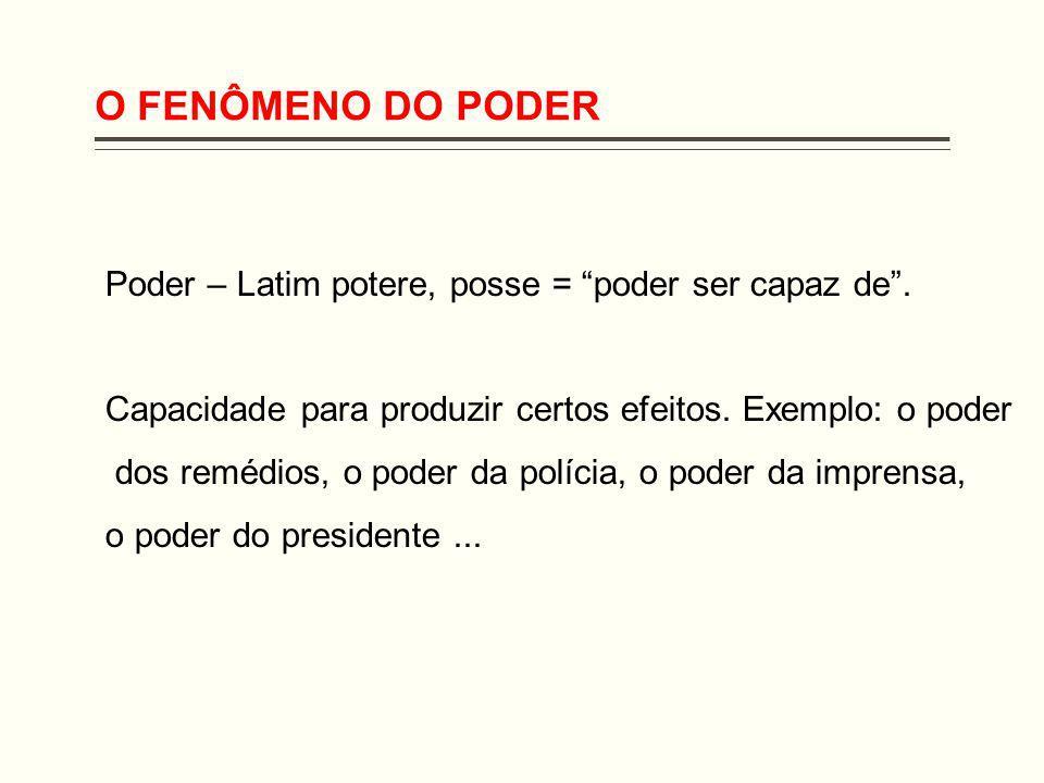 O FENÔMENO DO PODER Poder – Latim potere, posse = poder ser capaz de . Capacidade para produzir certos efeitos. Exemplo: o poder.