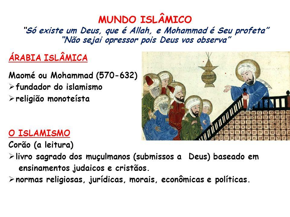 MUNDO ISLÂMICO Só existe um Deus, que é Allah, e Mohammad é Seu profeta Não sejai opressor pois Deus vos observa