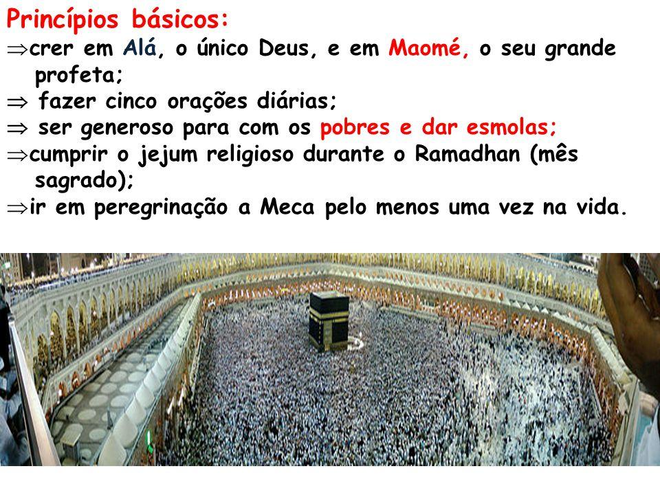 Princípios básicos: crer em Alá, o único Deus, e em Maomé, o seu grande. profeta;  fazer cinco orações diárias;