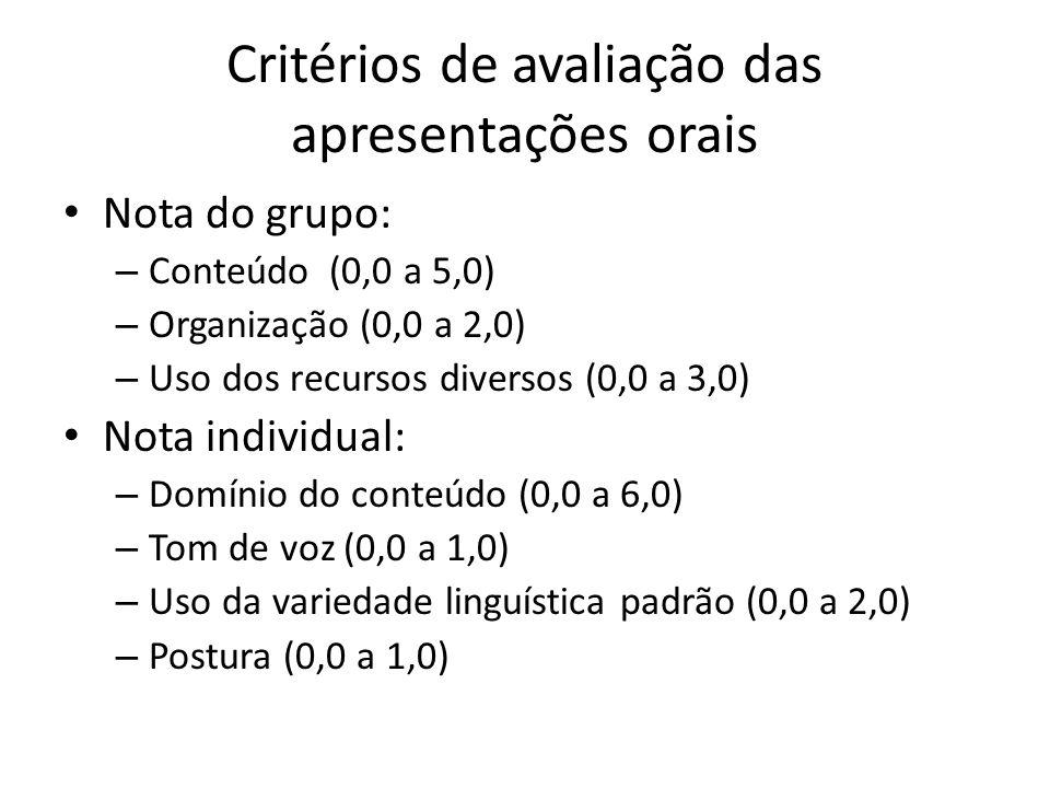 Critérios de avaliação das apresentações orais