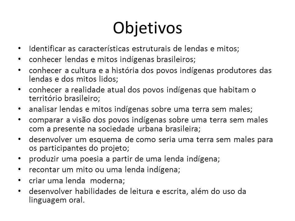 Objetivos Identificar as características estruturais de lendas e mitos; conhecer lendas e mitos indígenas brasileiros;