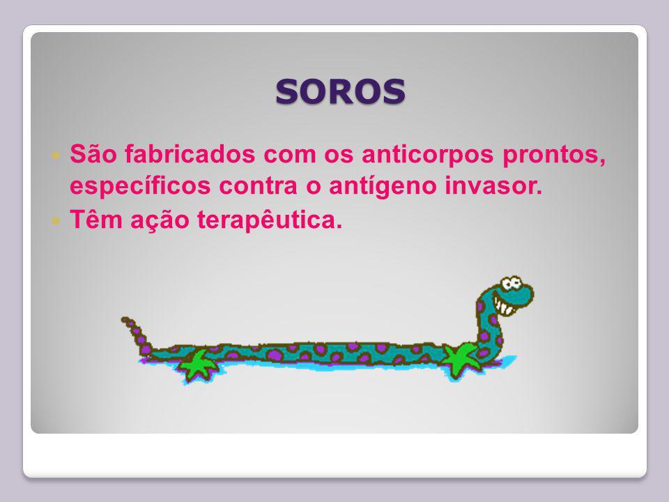 SOROS São fabricados com os anticorpos prontos, específicos contra o antígeno invasor.