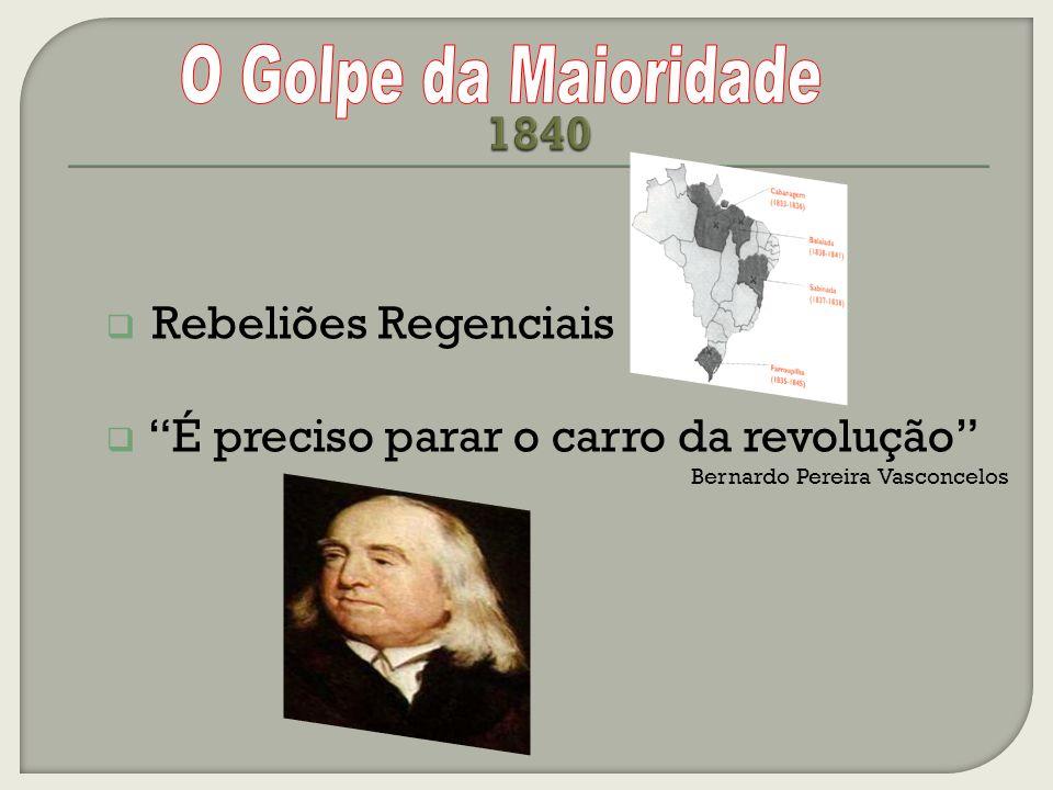 1840 O Golpe da Maioridade Rebeliões Regenciais