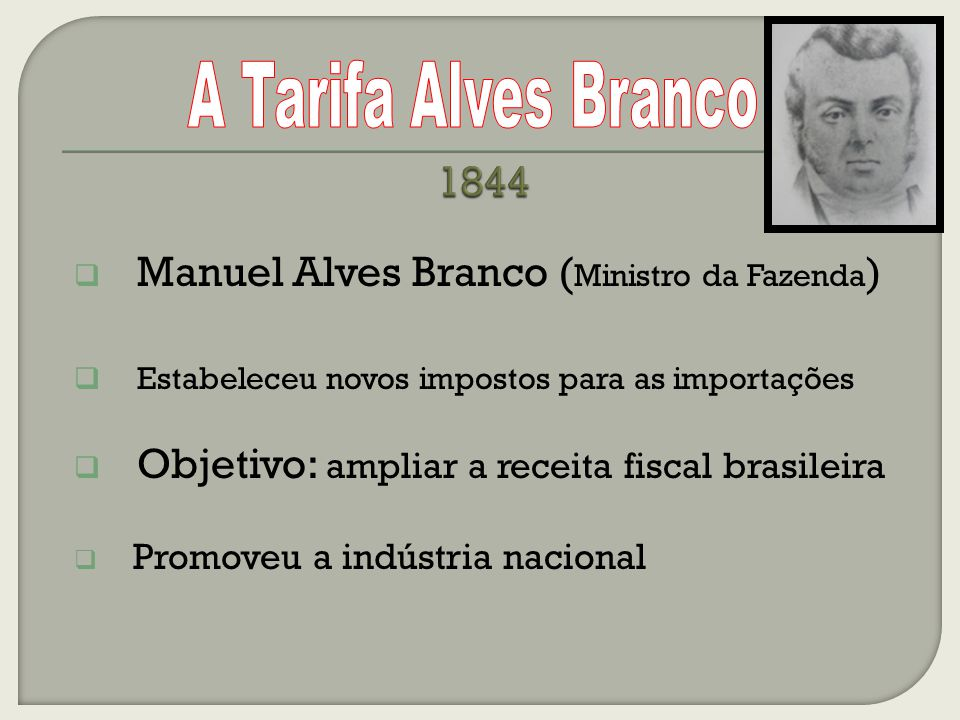 1844 A Tarifa Alves Branco Manuel Alves Branco (Ministro da Fazenda)