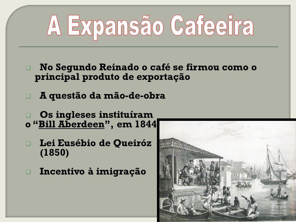 A Expansão Cafeeira No Segundo Reinado o café se firmou como o principal produto de exportação. A questão da mão-de-obra.