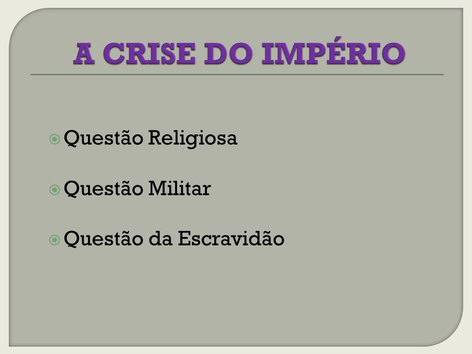 A CRISE DO IMPÉRIO Questão Religiosa Questão Militar