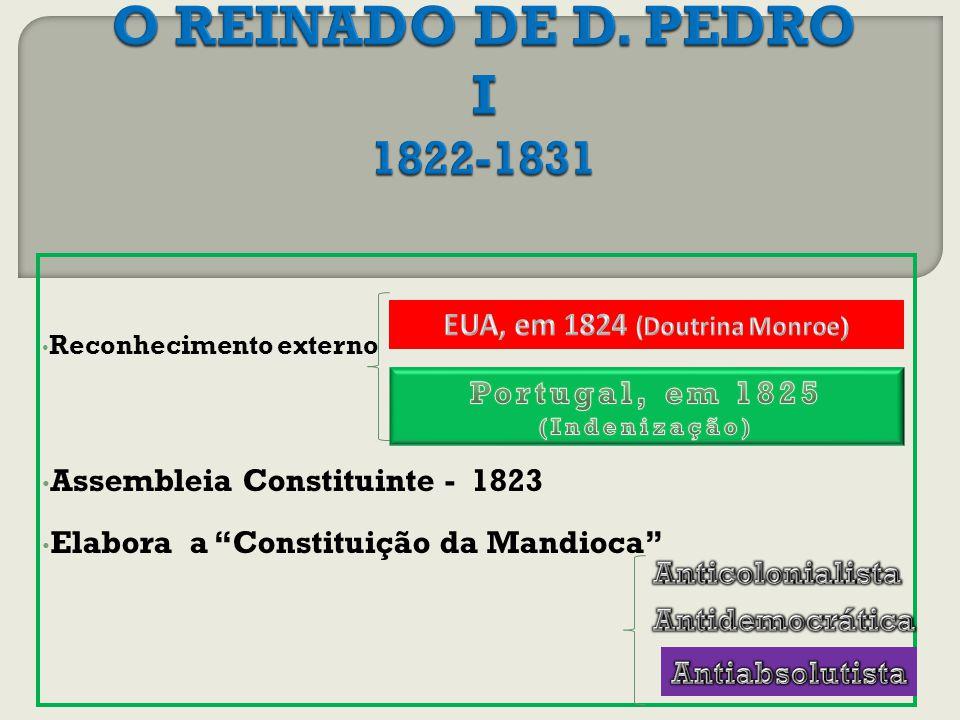 EUA, em 1824 (Doutrina Monroe) Portugal, em 1825 (Indenização)