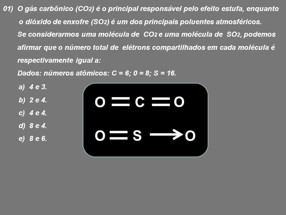 01) O gás carbônico (CO2) é o principal responsável pelo efeito estufa, enquanto