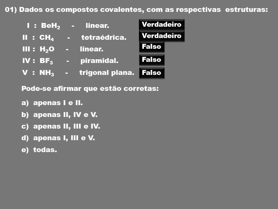 01) Dados os compostos covalentes, com as respectivas estruturas: