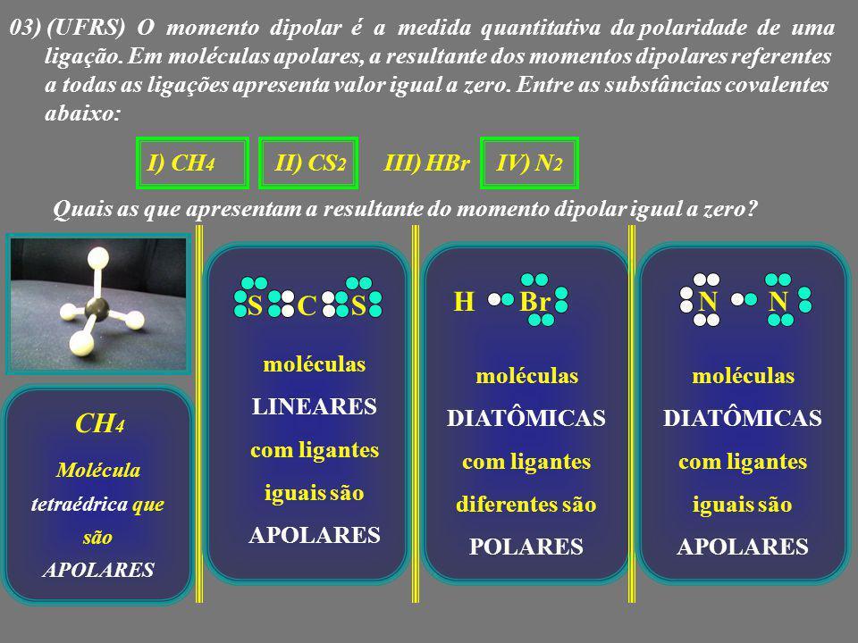 03) (UFRS) O momento dipolar é a medida quantitativa da polaridade de uma