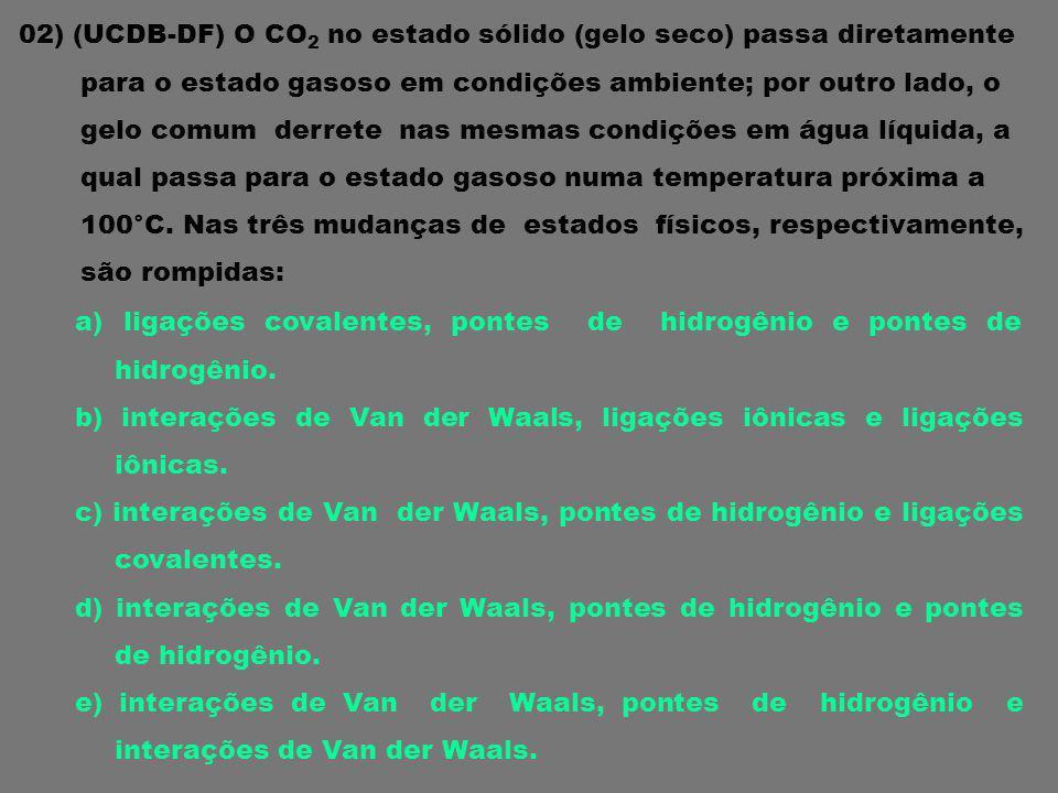 02) (UCDB-DF) O CO2 no estado sólido (gelo seco) passa diretamente