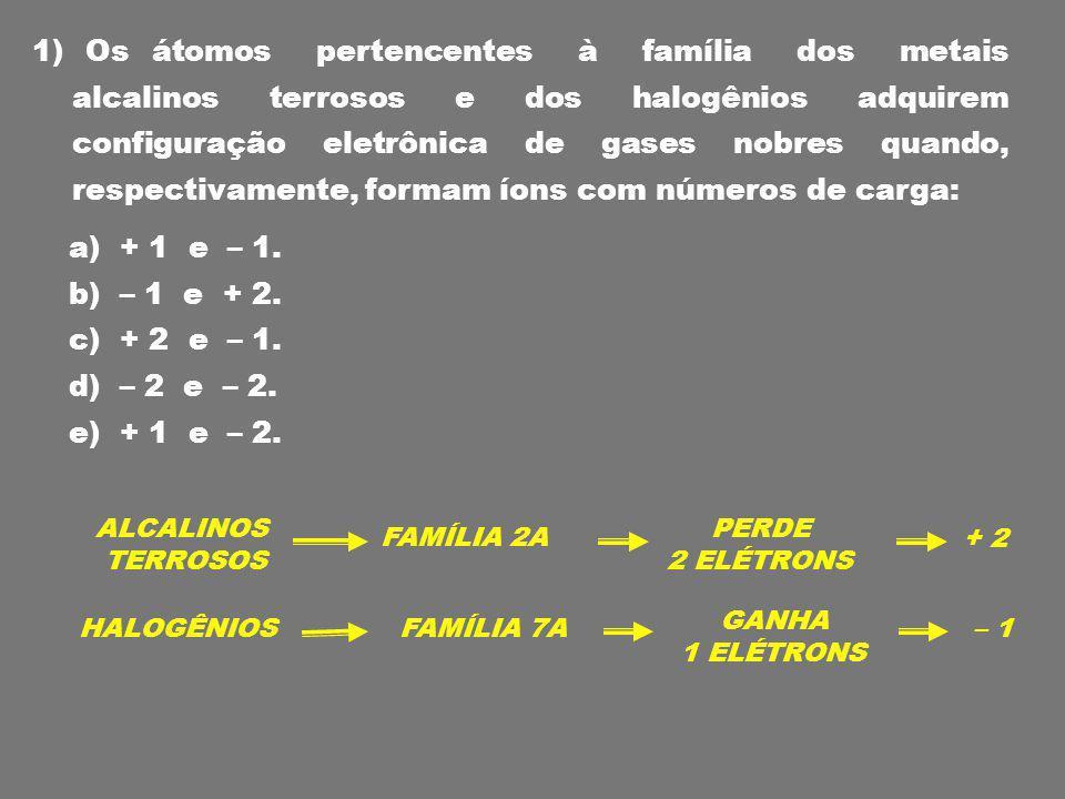 1) Os átomos pertencentes à família dos metais alcalinos terrosos e dos halogênios adquirem configuração eletrônica de gases nobres quando, respectivamente, formam íons com números de carga: