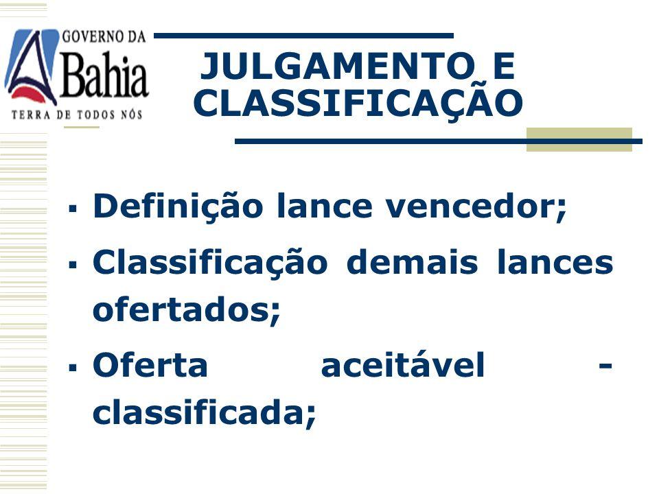JULGAMENTO E CLASSIFICAÇÃO
