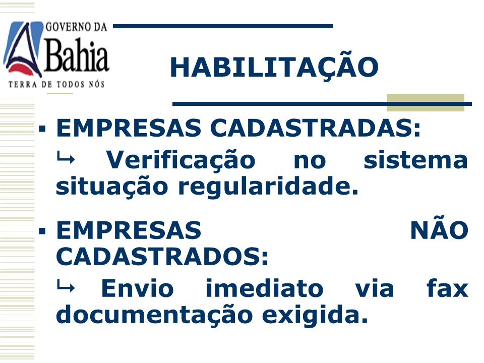 HABILITAÇÃO EMPRESAS CADASTRADAS: