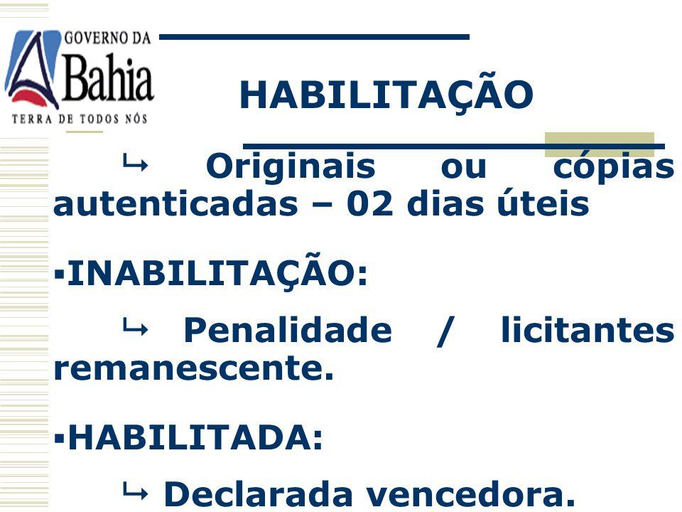 HABILITAÇÃO  Originais ou cópias autenticadas – 02 dias úteis