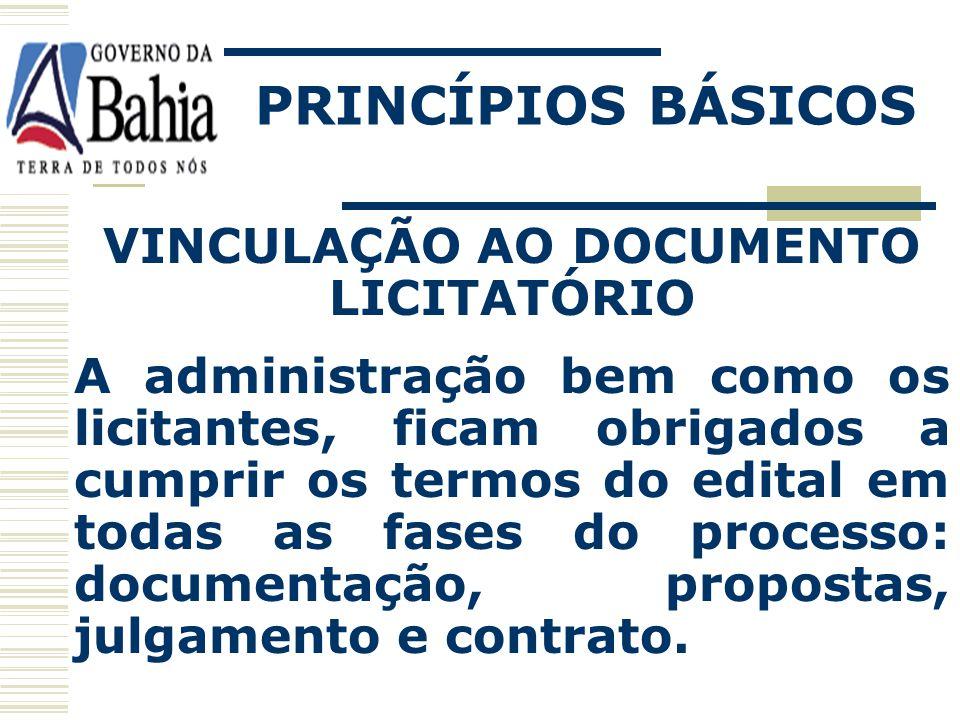 VINCULAÇÃO AO DOCUMENTO LICITATÓRIO