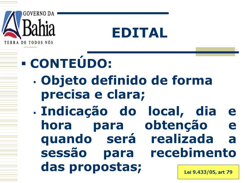 EDITAL CONTEÚDO: Objeto definido de forma precisa e clara;