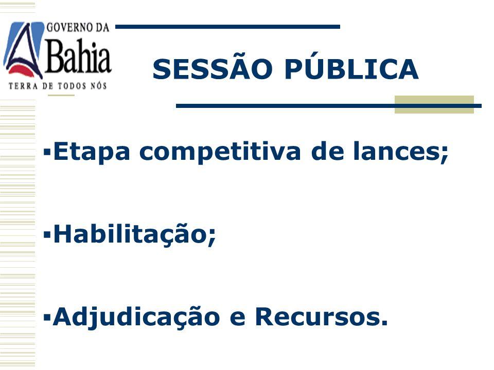 SESSÃO PÚBLICA Etapa competitiva de lances; Habilitação;