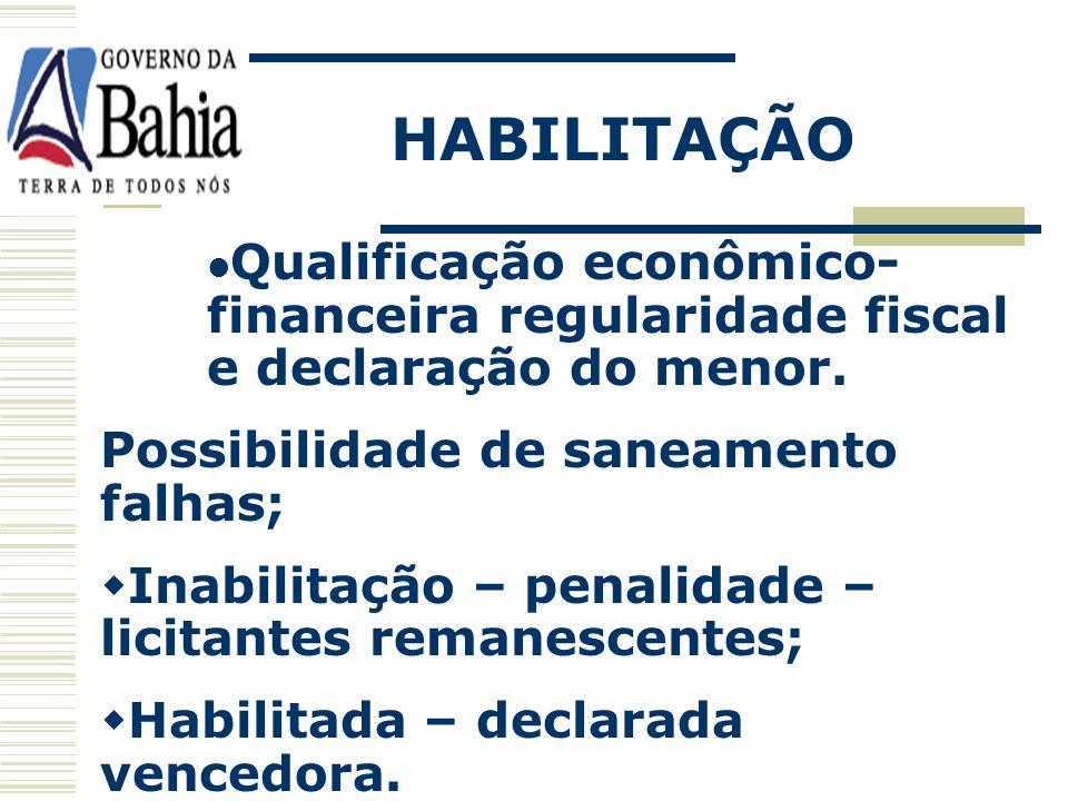 HABILITAÇÃO Qualificação econômico-financeira regularidade fiscal e declaração do menor. Possibilidade de saneamento falhas;