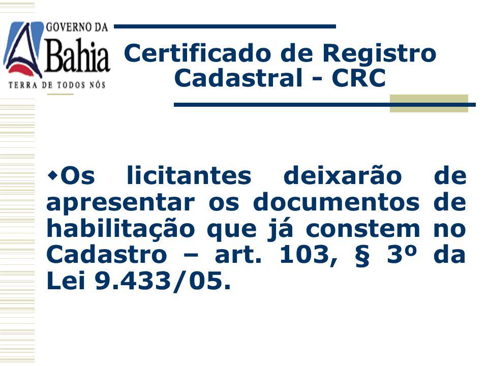 Certificado de Registro Cadastral - CRC