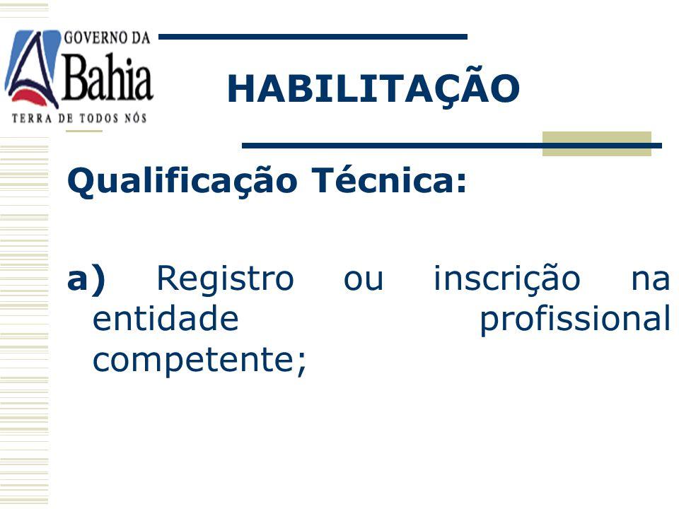 HABILITAÇÃO Qualificação Técnica: