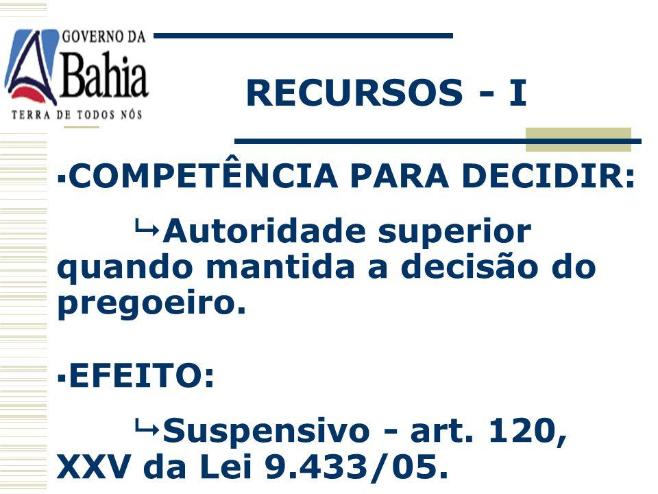 RECURSOS - I COMPETÊNCIA PARA DECIDIR: