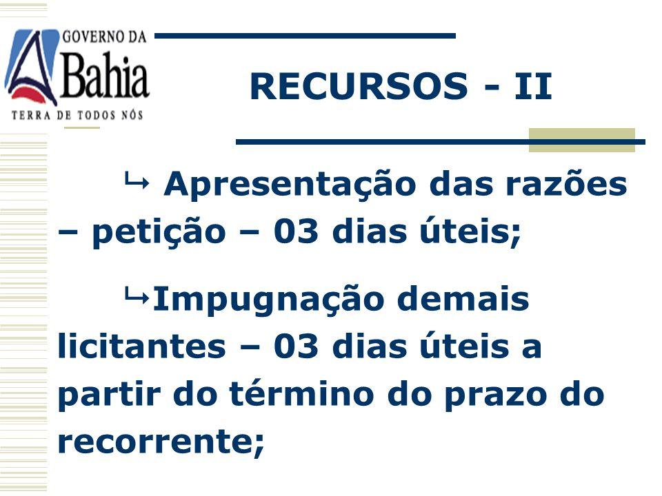 RECURSOS - II  Apresentação das razões – petição – 03 dias úteis;