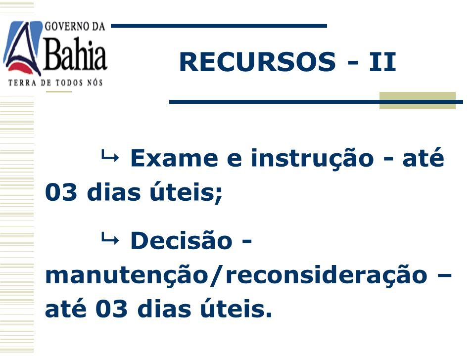 RECURSOS - II  Exame e instrução - até 03 dias úteis;