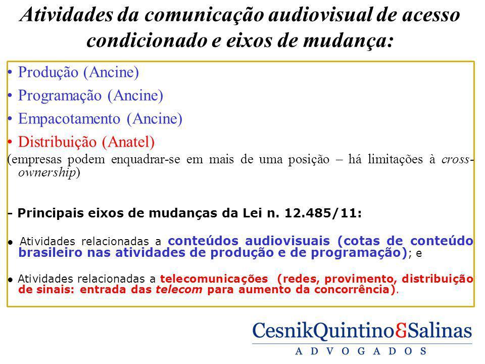 Atividades da comunicação audiovisual de acesso condicionado e eixos de mudança:
