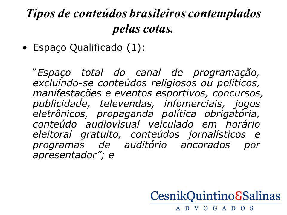 Tipos de conteúdos brasileiros contemplados pelas cotas.
