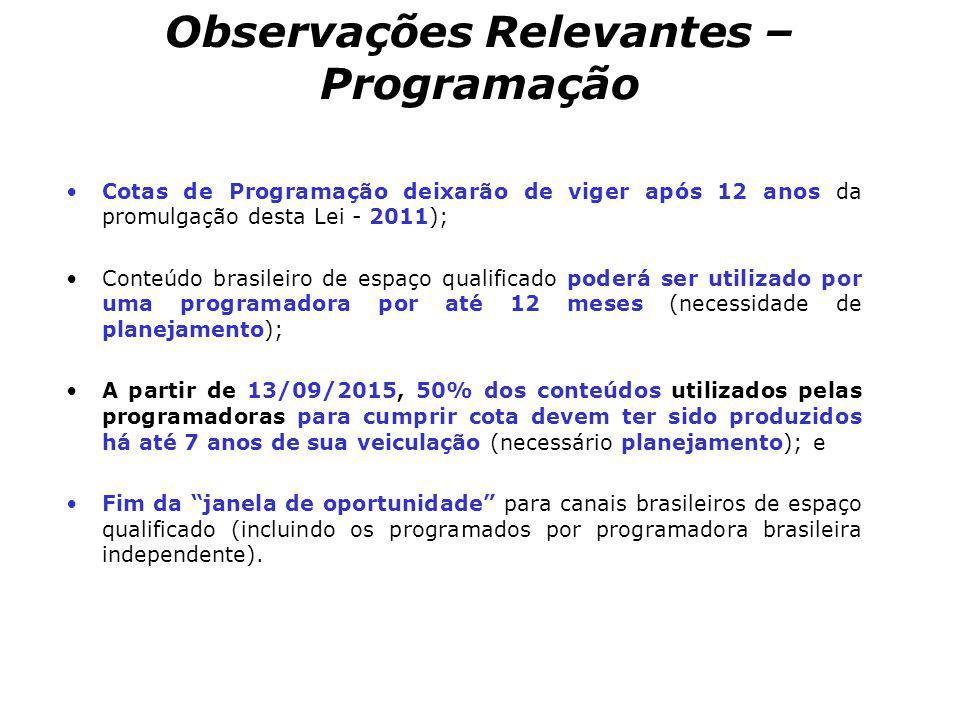 Observações Relevantes – Programação