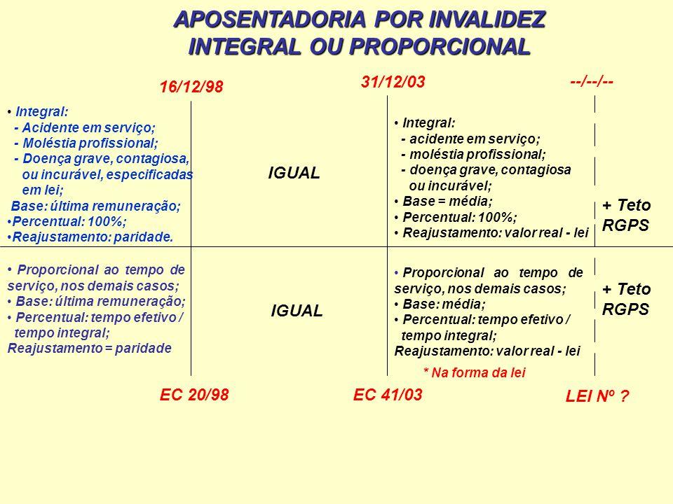 APOSENTADORIA POR INVALIDEZ INTEGRAL OU PROPORCIONAL
