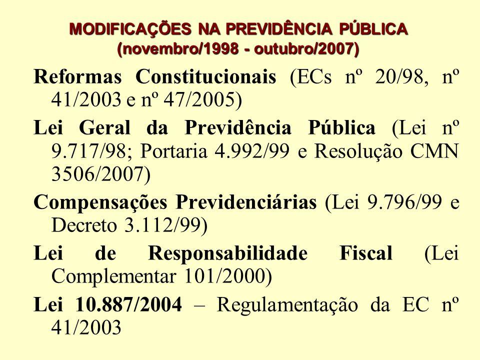 MODIFICAÇÕES NA PREVIDÊNCIA PÚBLICA (novembro/1998 - outubro/2007)