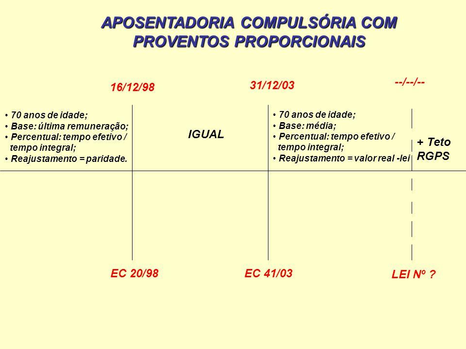 APOSENTADORIA COMPULSÓRIA COM PROVENTOS PROPORCIONAIS