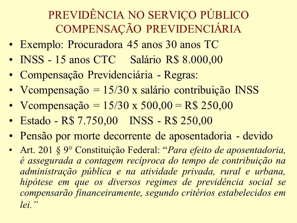 PREVIDÊNCIA NO SERVIÇO PÚBLICO COMPENSAÇÃO PREVIDENCIÁRIA