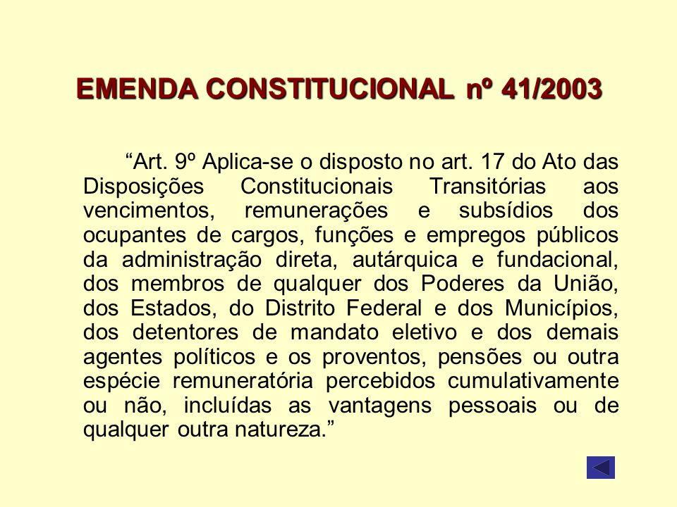 EMENDA CONSTITUCIONAL nº 41/2003