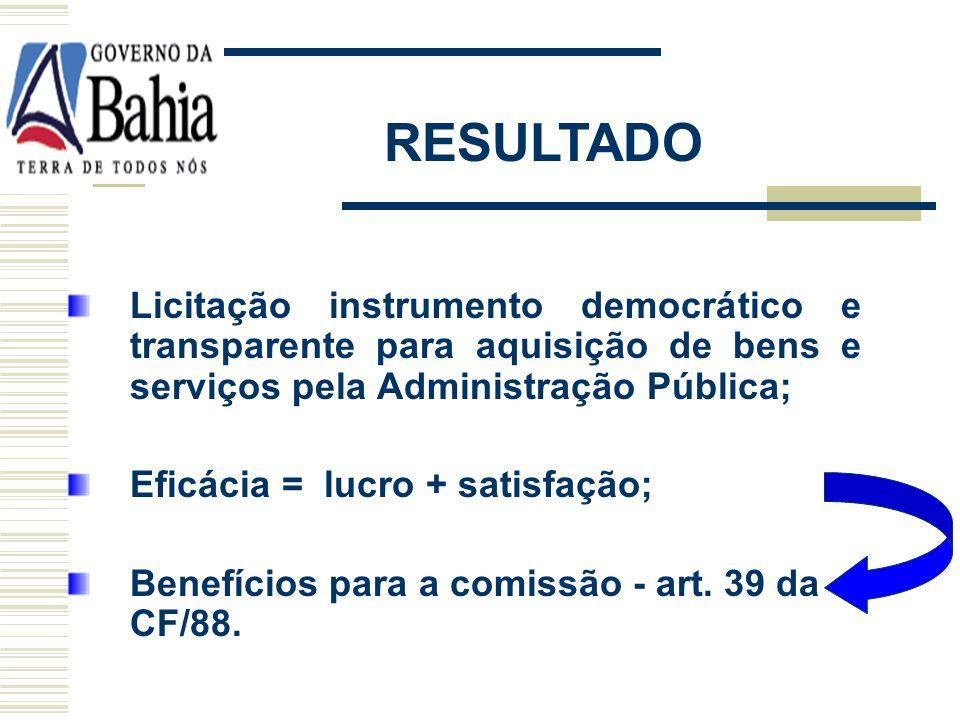 RESULTADO Licitação instrumento democrático e transparente para aquisição de bens e serviços pela Administração Pública;