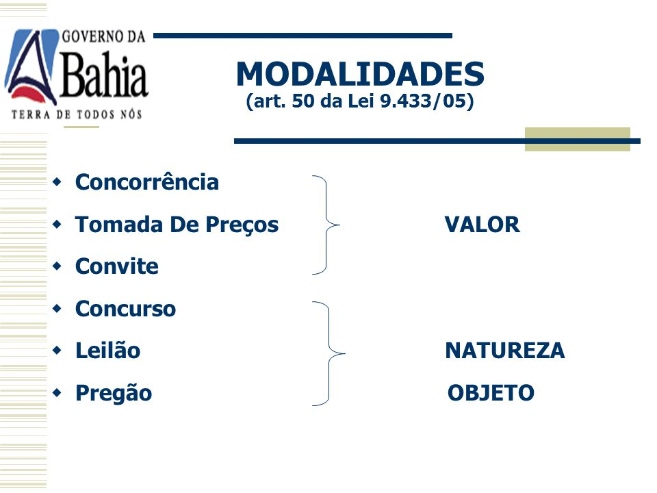 MODALIDADES (art. 50 da Lei 9.433/05)