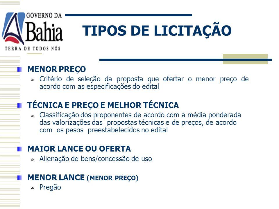 TIPOS DE LICITAÇÃO MENOR PREÇO TÉCNICA E PREÇO E MELHOR TÉCNICA