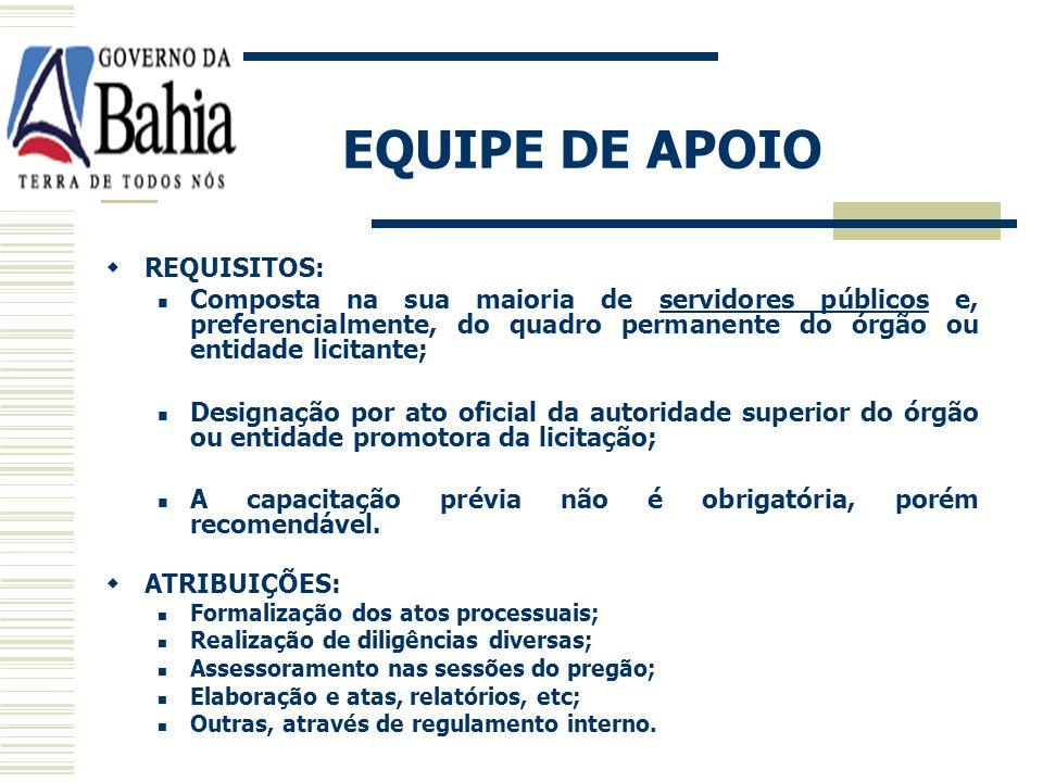 EQUIPE DE APOIO REQUISITOS: