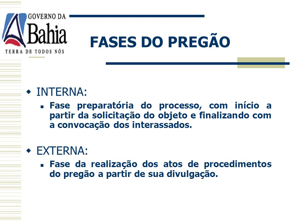 FASES DO PREGÃO INTERNA: EXTERNA: