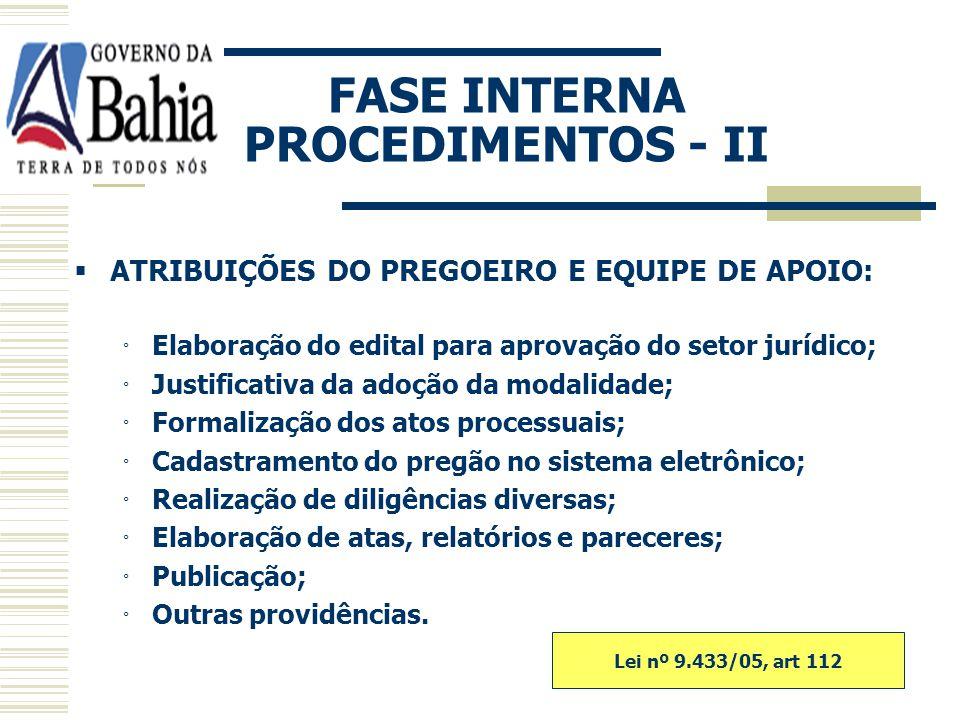 FASE INTERNA PROCEDIMENTOS - II
