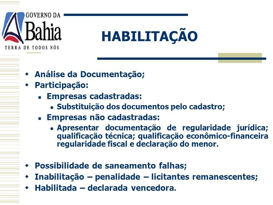 HABILITAÇÃO Análise da Documentação; Participação: