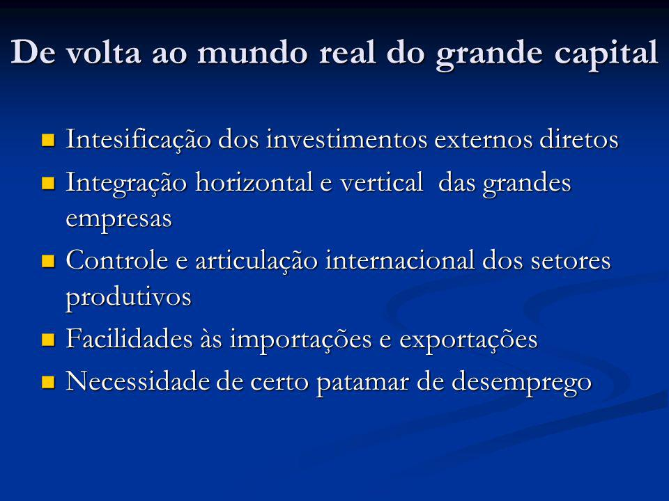 De volta ao mundo real do grande capital
