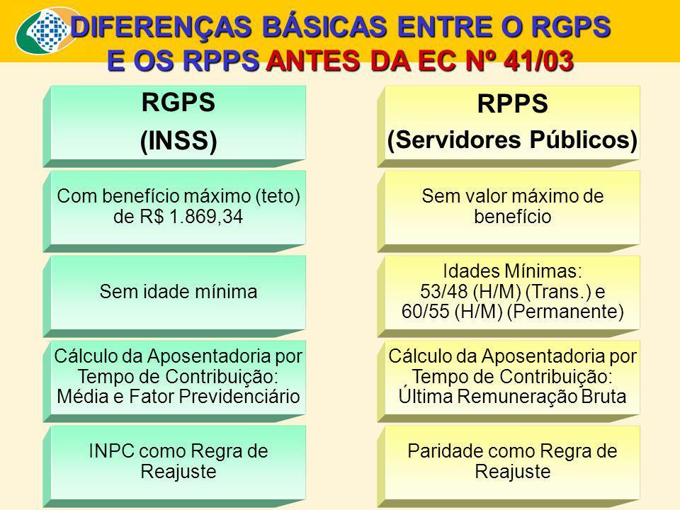 DIFERENÇAS BÁSICAS ENTRE O RGPS (Servidores Públicos)