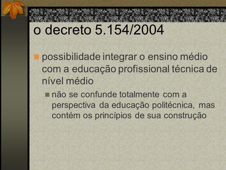 o decreto 5.154/2004 possibilidade integrar o ensino médio com a educação profissional técnica de nível médio.