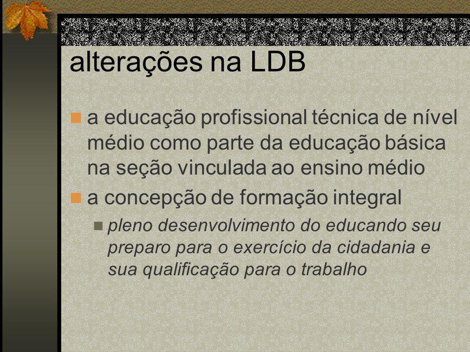 alterações na LDB a educação profissional técnica de nível médio como parte da educação básica na seção vinculada ao ensino médio.