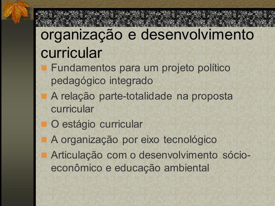 organização e desenvolvimento curricular