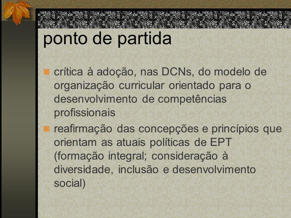 ponto de partida crítica à adoção, nas DCNs, do modelo de organização curricular orientado para o desenvolvimento de competências profissionais.
